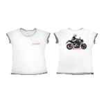 Футболка женская белая с отделкой и мотоциклом